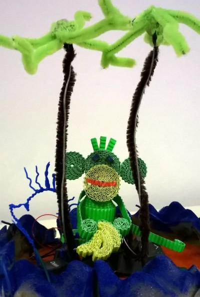 Kid Lab : Quilled 3D monkey